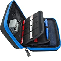 Brendo Carrying Case for New Nintendo 3DS XL, 2DS XL, 3DS Case, Fits Wall Charger, 24 Game Cartridge Holders and Large Stylus - BLACK/BLUE