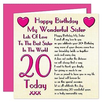 Sister 20th Happy Birthday Card