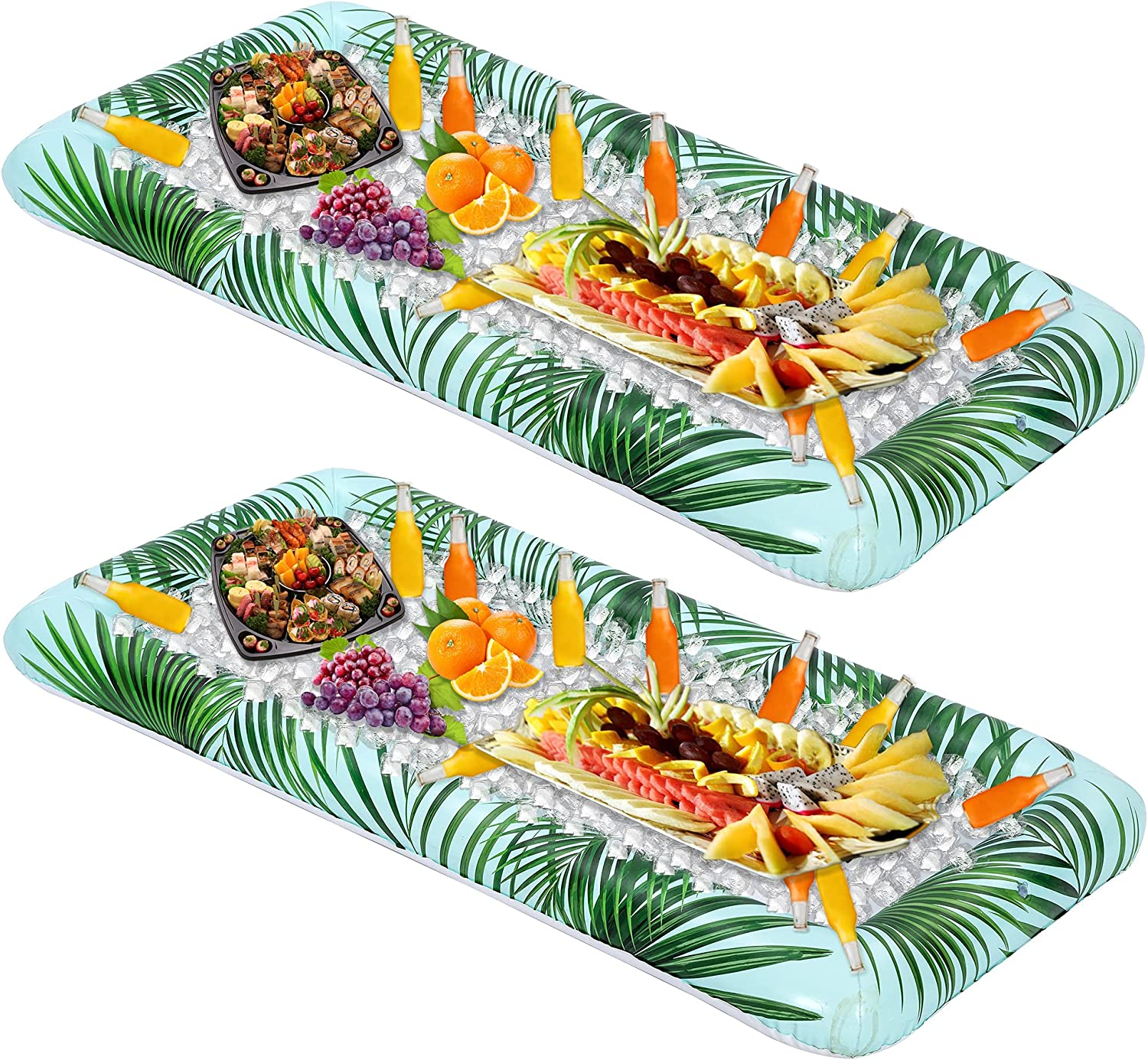 Inflatable Serving Bars with Drain Plug (2 Sets), Inflatable Cooler Ice Buffet Salad Serving Trays for Indoor Outdoor Summer Beach Luau Party, Picnic, and Pool Party