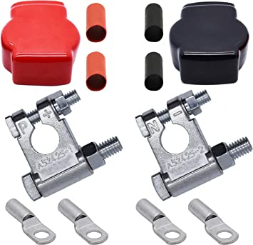Cllena Military Style Top Post Battery Terminal and Lugs Kit for Car Marine Boat Rv Vehicles