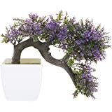 MyGift Purple Blossom Artificial Bonsai Tree, Faux Potted Plant w/ White Planter