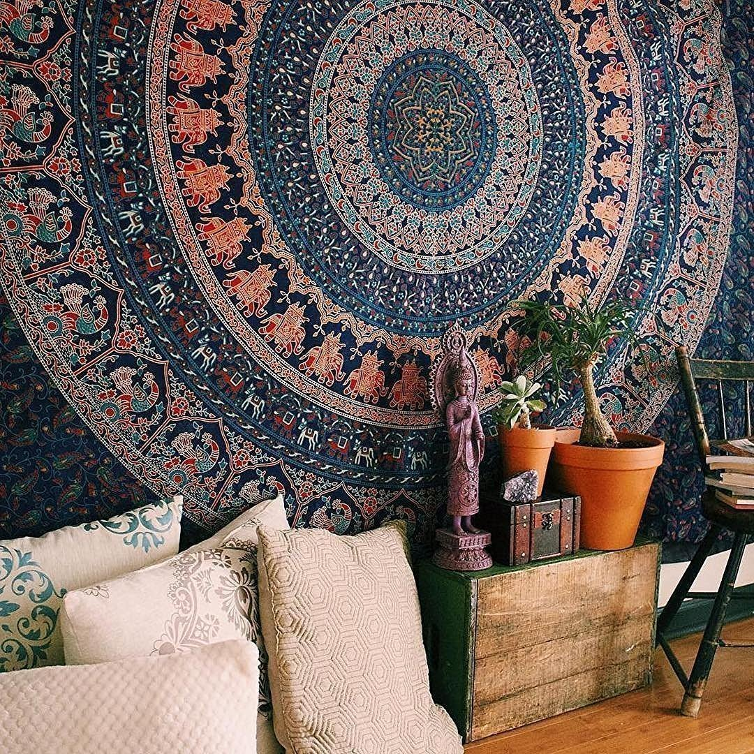 Popular Handicrafts Hippie Mandala Bohemian Psychedelic Intricate Floral Design Indian Bedspread Magical Thinking Tapestry 84x90 Inches, (215x230cms) Blue by Popular Handicrafts FBA_Th170