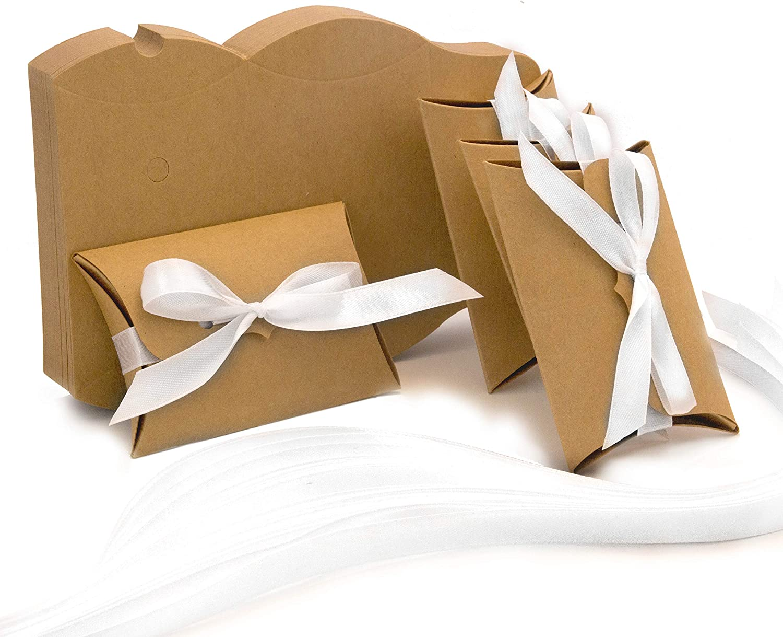 PATOO 50pcs Cajitas Regalo Boda, Bautizo, Comunion, por Dulces Bombones. Cajas de Papel Kraft con Cinta Blanca: Amazon.es: Hogar