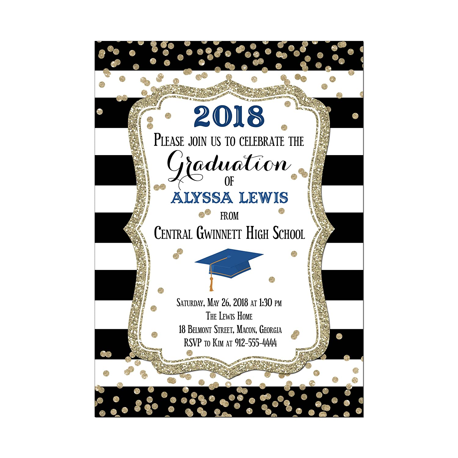 Amazon.com: Black and White Striped Graduation Invitation, Customize with  your school colors, Set of 10 printed invitations: Handmade
