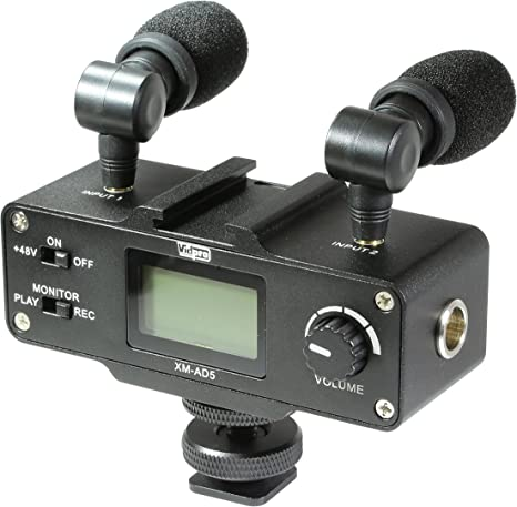 with SDC-26 Case Panasonic PV-GS55 Camcorder External Microphone Vidpro XM-AD5 Mini Pre-Amp Smart Mixer with Dual Condenser Microphones for DSLR/'s Video Cameras and Phones