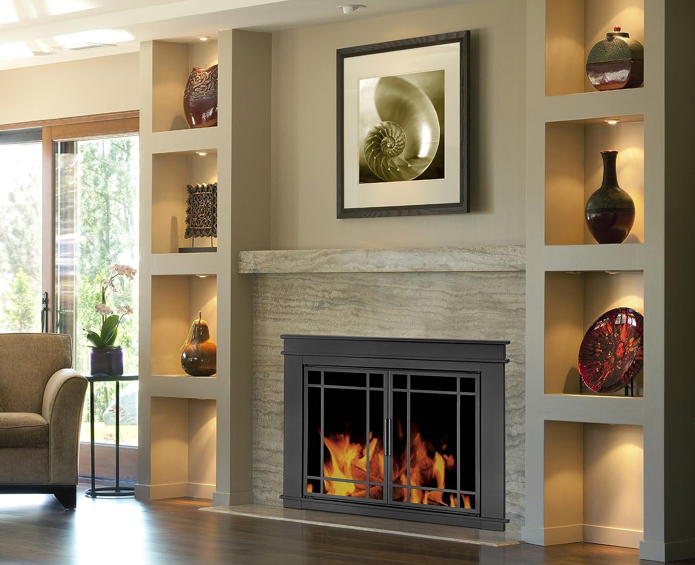 amazon com pleasant hearth fillmore glass firescreen width 36