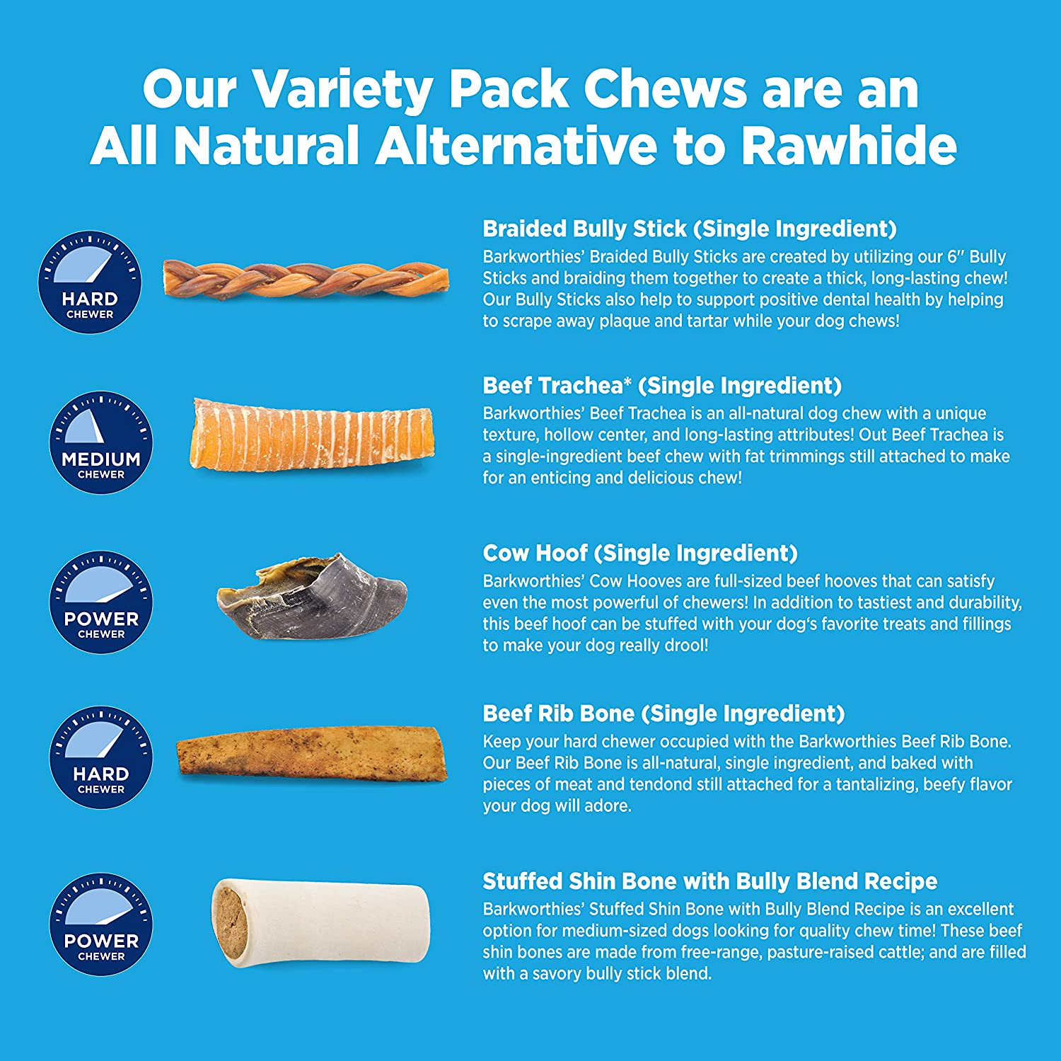 Amazon.com : Barkworthies Healthy Dog Treats & Chews Medium Dog Variety Pack (5 Chews) - Protein-Rich, All-Natural, Highly Digestible, Rawhide Alternative ...