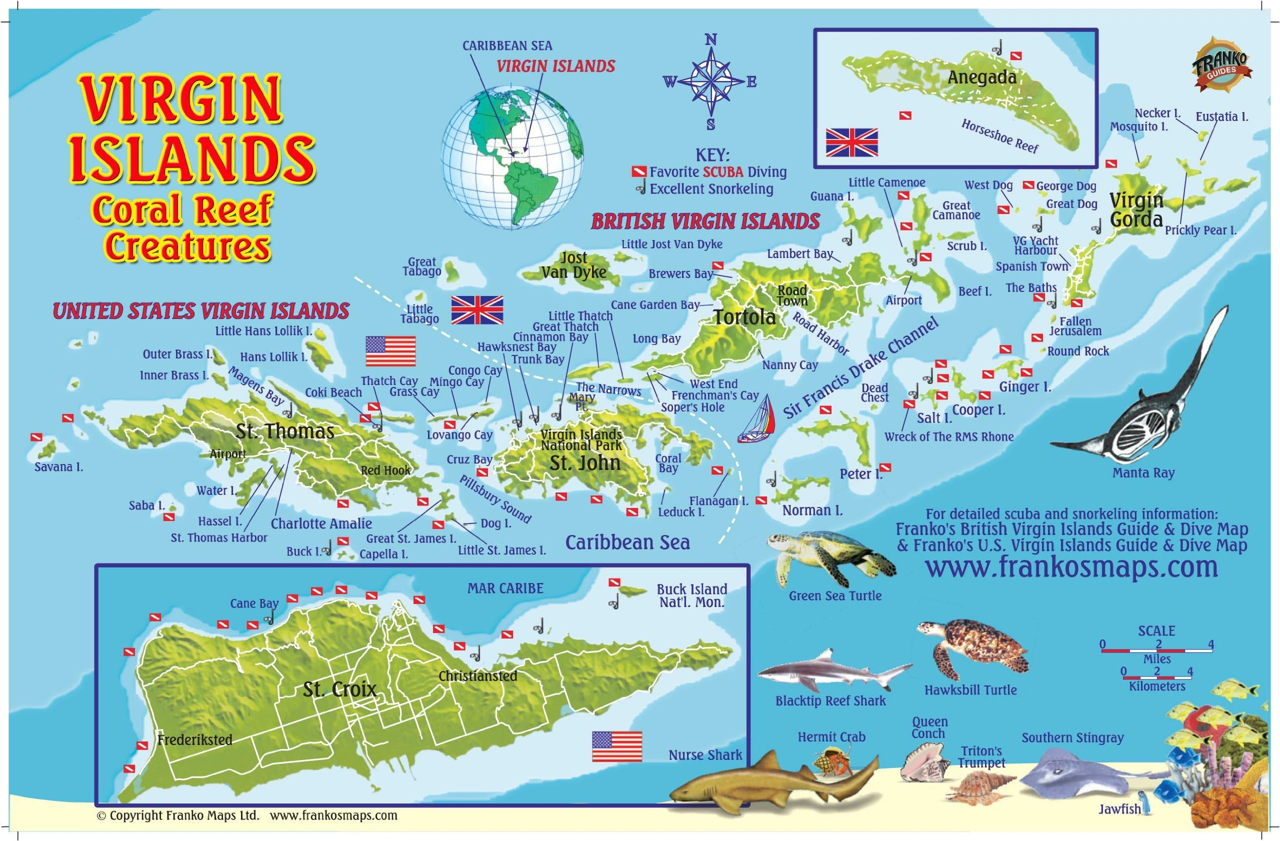 Virgin Islands Map Coral Reef Creatures Guide Franko Maps - Us and british virgin islands map
