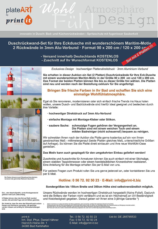 ORIGINAL PlateART Eck Duschrückwand, Bis 90 X 200 Cm Links/rechts Und 120 X  200 Cm Links/rechts OHNE FUGEN, Fliesenersatz, Maritim Leuchtturm Nordsee  Motiv: ...