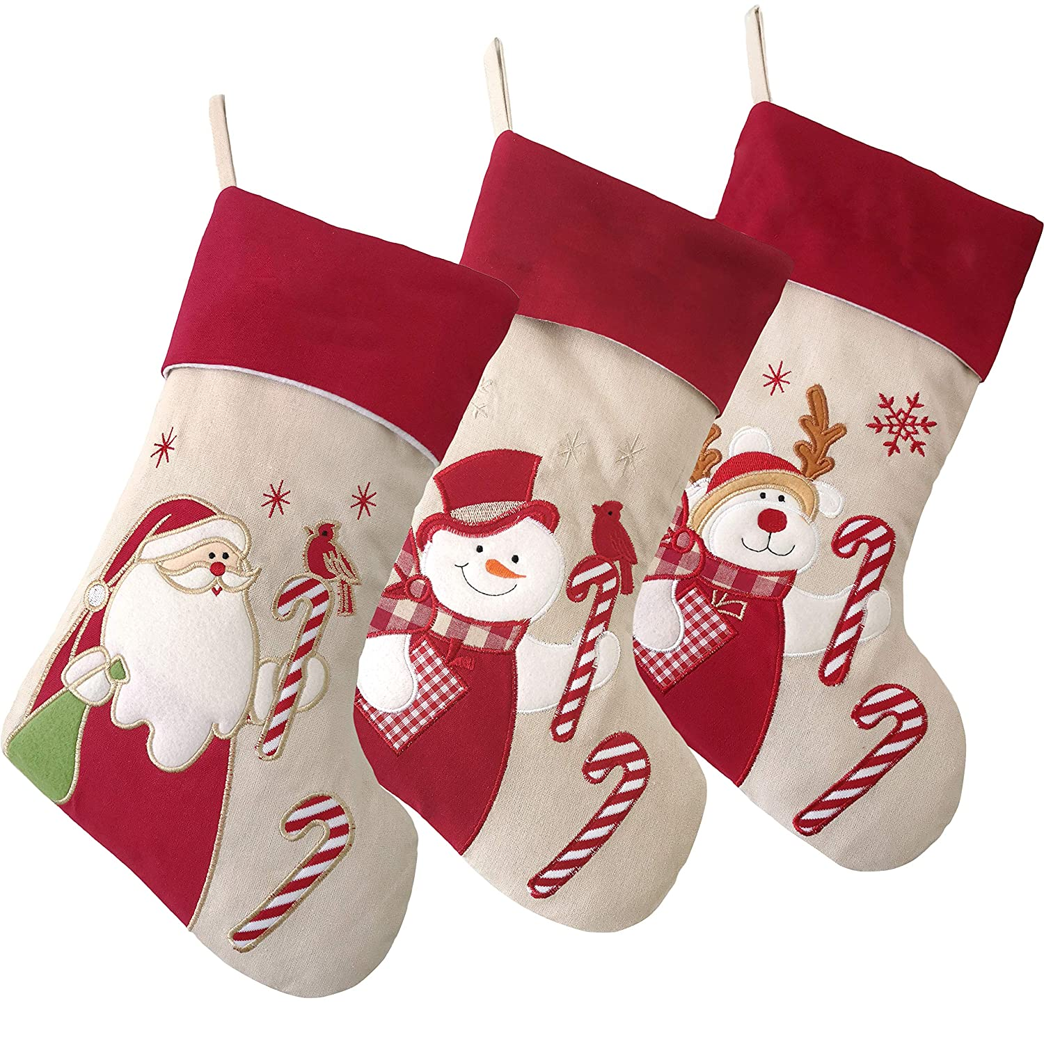 99efacf3898a0 Wewill Lovely Christmas Stockings Set of 3 Santa, Reindeer, Snowman Xmas  Character 3D Plush Linen Hanging Tag Knit Border 17-Inch (3)