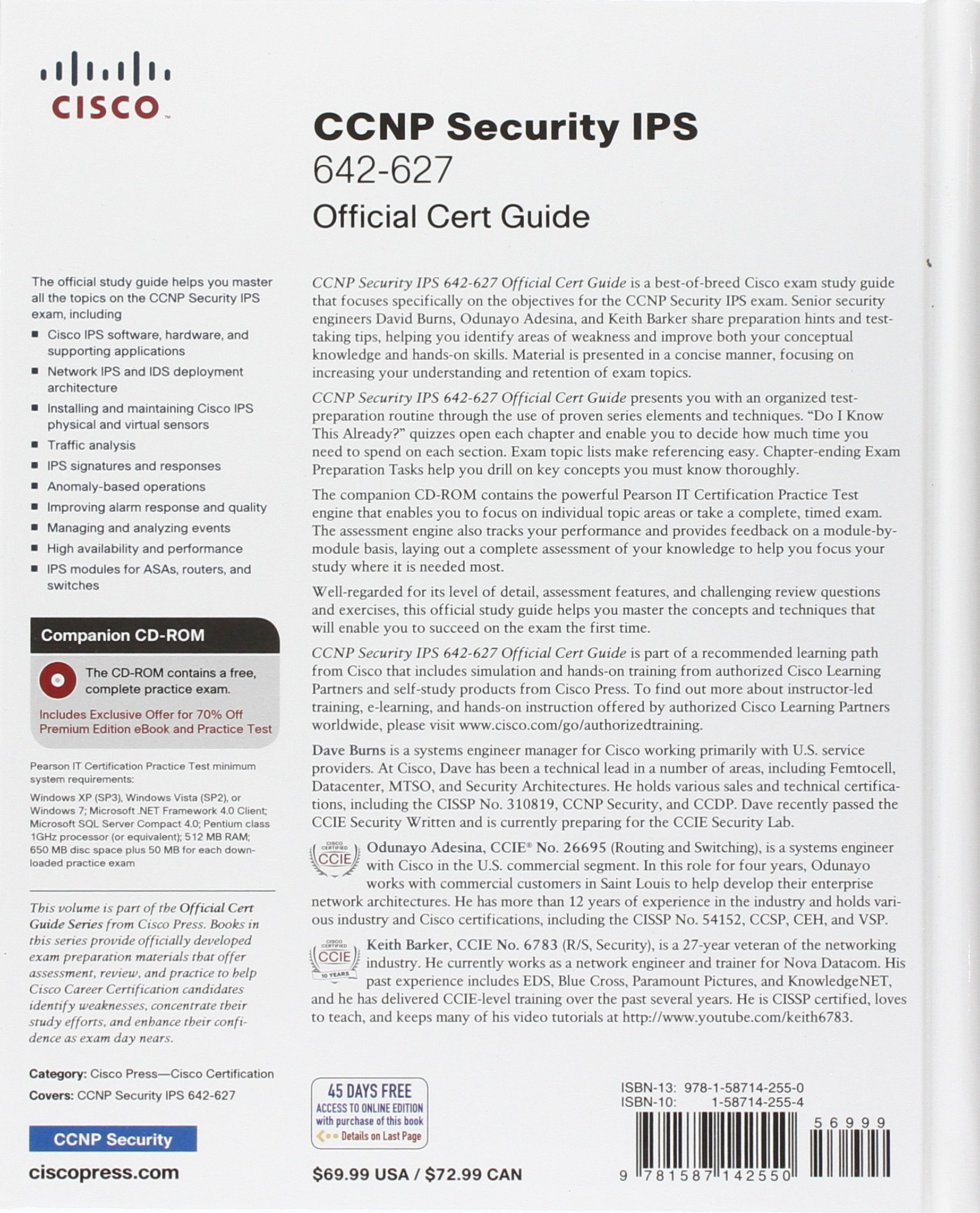 Ccnp Security Ips 642 627 Official Cert Guide Exam Certification