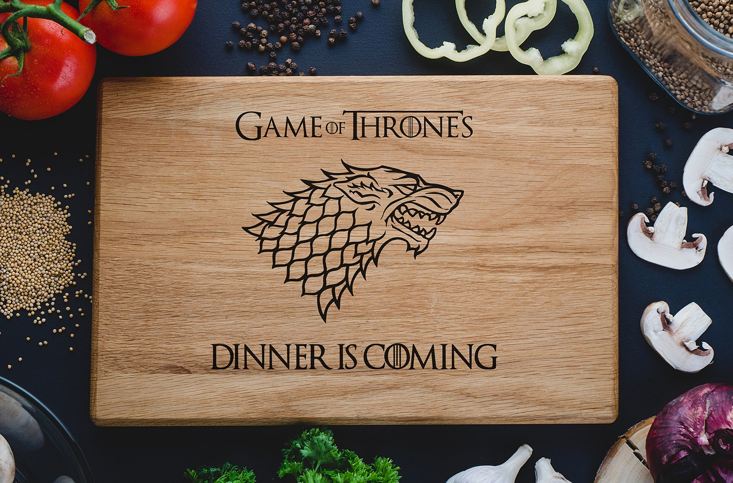 Game of Throne Cutting Board Stark family Dinner is coming Winter Custom Engraved Wooden Men Christmas Gift for Friend Him Her House Warming (8 x 12 inch) game10