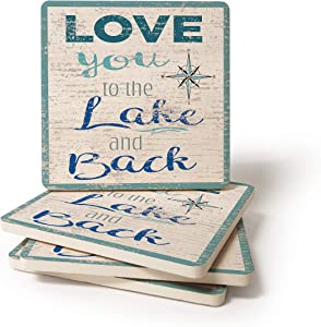 CoasterStone Absorbent Coaster Drinks Love You to The Lake and Back, 4.25 Inches Wide, Set of Four