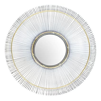 RED FIG HOME Wall Mirror Décor U2013 Decorative Natural Finish Metal Wire  Frame, Gold Accents