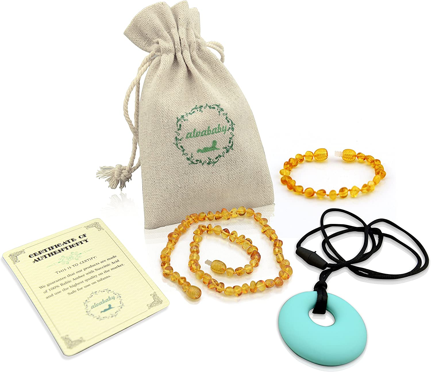 ALVABABY Amber Teething Necklace /& Bracelet or Anklet for Babies Unisex Anti Flammatory Drooling /& Fussiness Reduce Amber Teething Bracelet or Anklet GNB02-CA