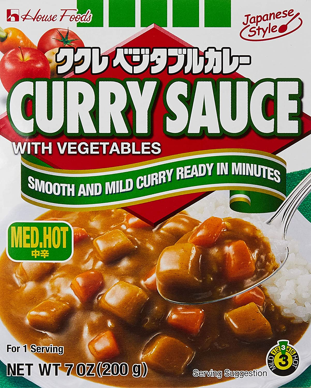 House Foods Curry Sauce with Vegetables, Medium Hot, 7.4 Ounce