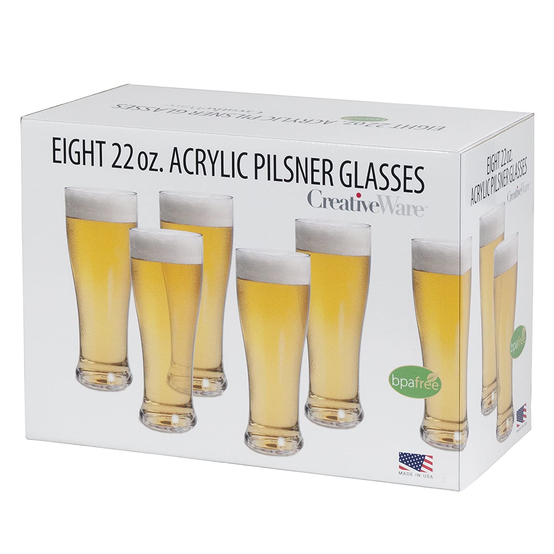 8 Pack Clear 1 CreativeWare PIL08 Pilsner Beer Glass Set Kitchen ...