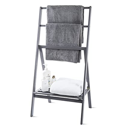 towel stand. MyGift Freestanding 43-Inch Bamboo Folding Towel Stand With Shelf, Gray Towel Stand