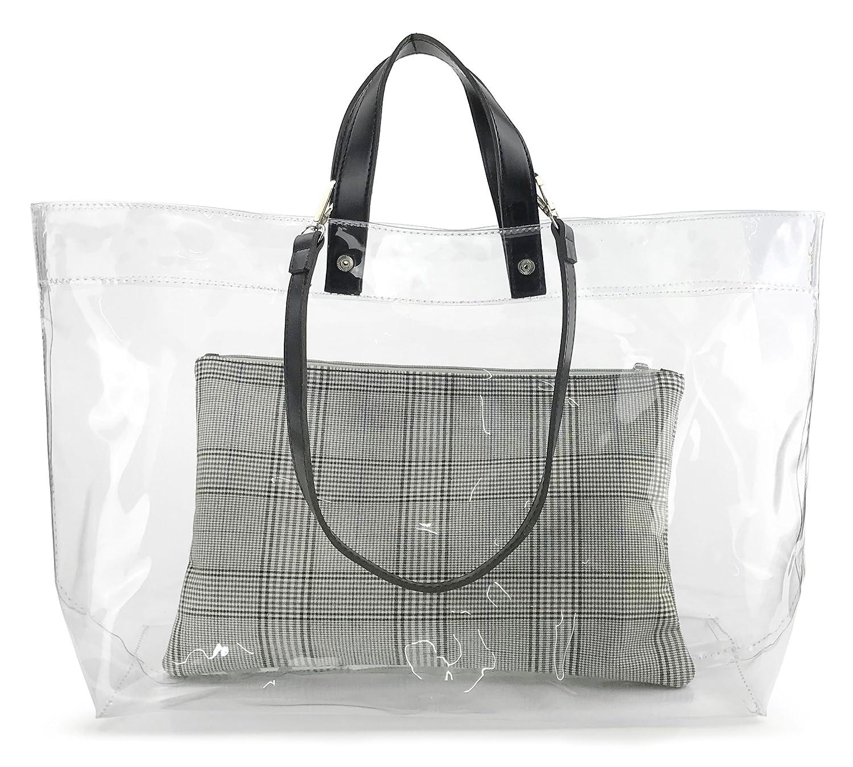 b6cb93a8cc Amazon.com  Vintage Style Clear PVC Tote With Zipper Pouch Women s Weekends Shoulder  Handbag (Black)  Shoes