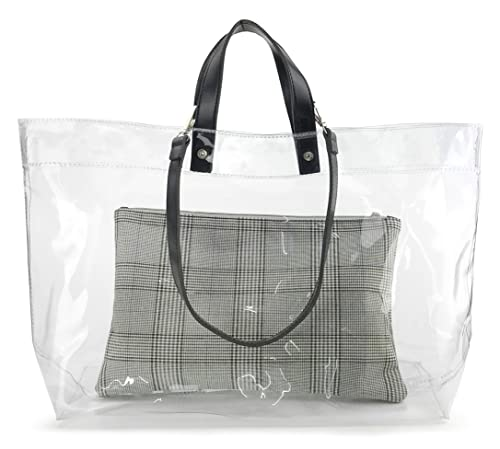 e67a25b726 Amazon.com: Vintage Style Clear PVC Tote With Zipper Pouch Women's Weekends Shoulder  Handbag (Black): Shoes