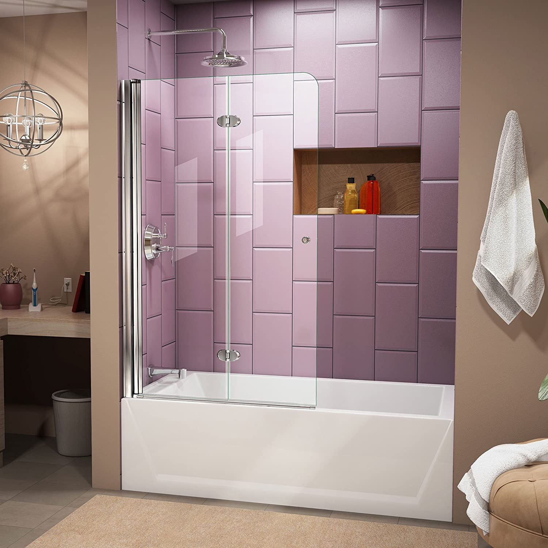 Frameless glass tub door - Width Frameless Hinged Tub Door 1 4 Glass Chrome Finish