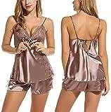 Avidlove Mujer Pijama de Satén Lencería Ropa de Dormir Topa Camisay Pantalones Cuello V