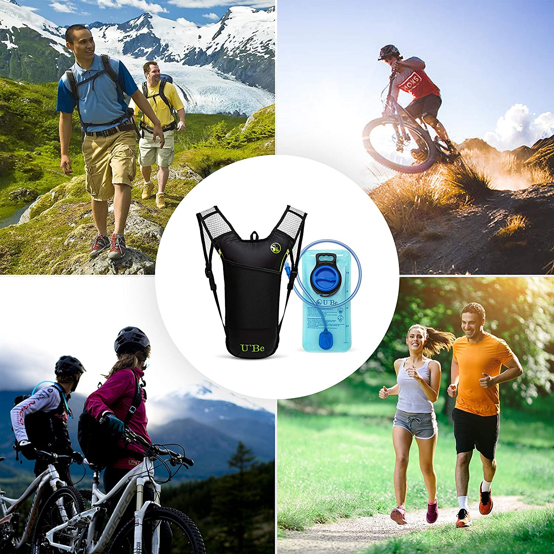 Kids Women Men Camelback U`Be Hydration Pack Water Backpack Hiking Biking Running Bag with 2L Bladder UBE