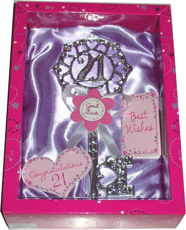 21st Birthday Gift Silver Age 21 Female Keepsake Key /& Bright Presentation Box
