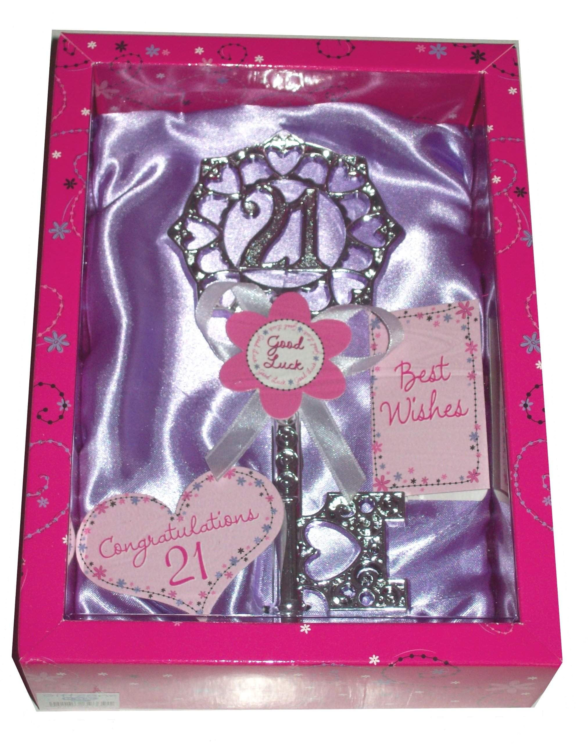 Boxed 21st Female Birthday Key Gift Twenty One Girl Key (lilac)