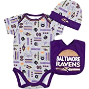 Gerber Childrenswear NFL Baltimore Ravens Bodysuit, Bib & Cap Set (3 Piece), 0-3 Months, Gray