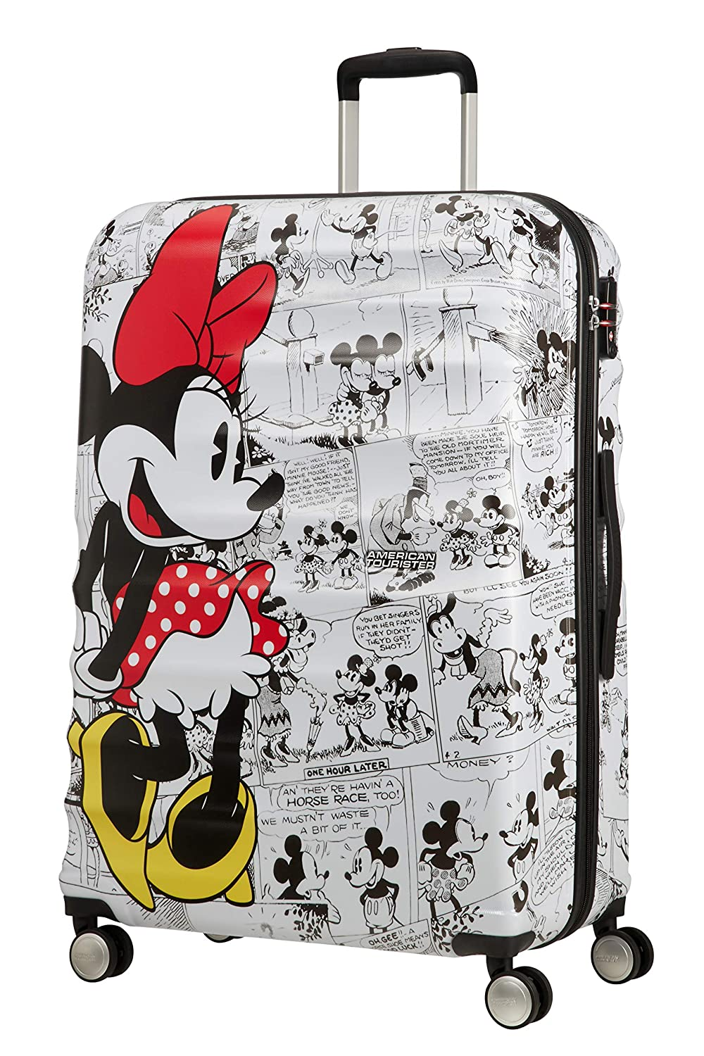 77 cm Blanc Spinner Large Bagage Cabine 96 liters American Tourister Wavebreaker Disney Minnie Comics White