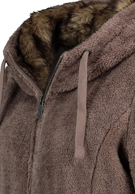 Sublevel Damen Fleece-Jacke mit Kunstfell /& Teddy-Fleece