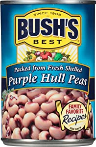 BUSH'S BEST Canned Purple Hull Peas (Pack of 12) Source of Plant Based Protein and Fiber, Low Fat, Gluten Free, 15.8 oz