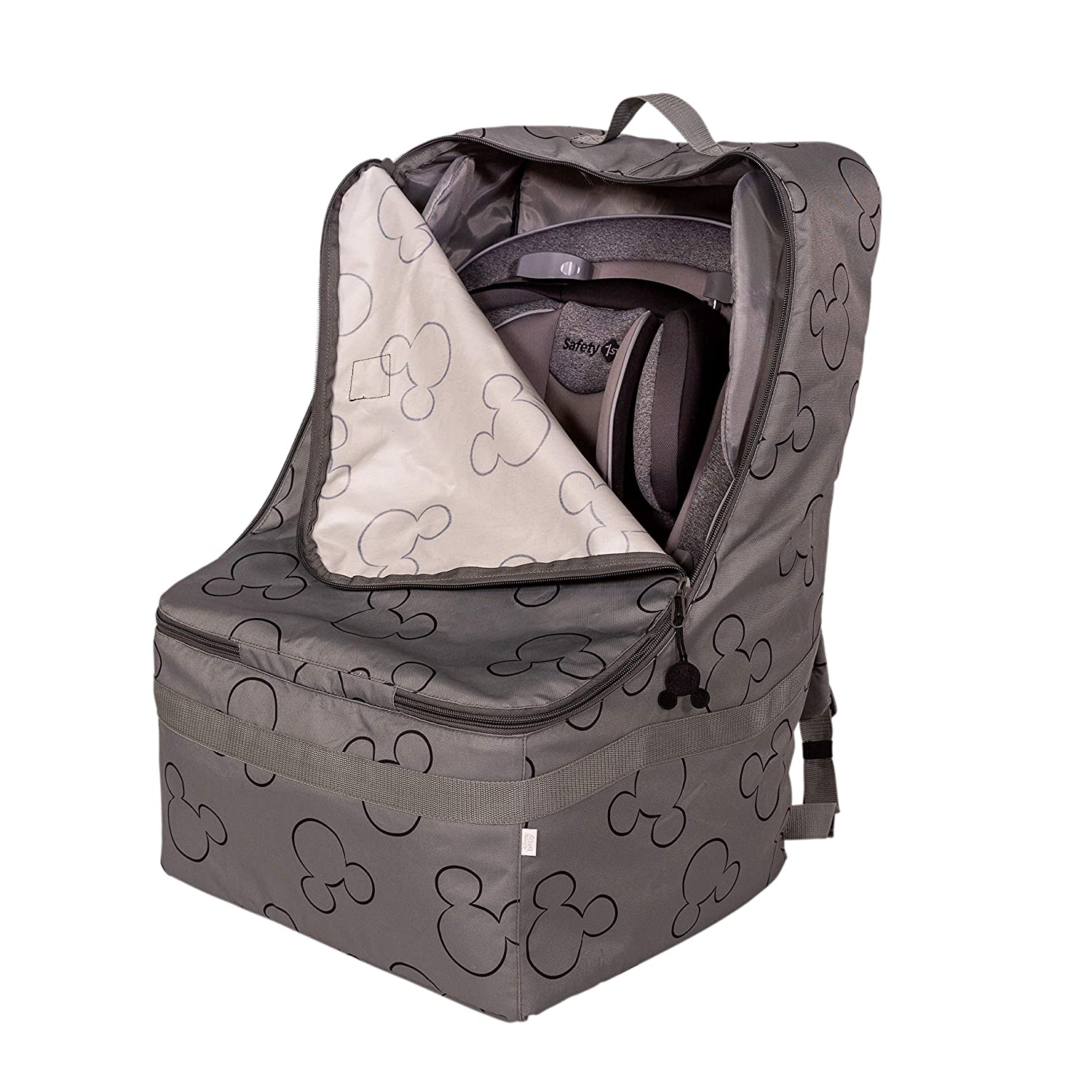 J.L. Childress Disney Baby Ultimate Backpack Padded Car Seat Travel Bag, Grey