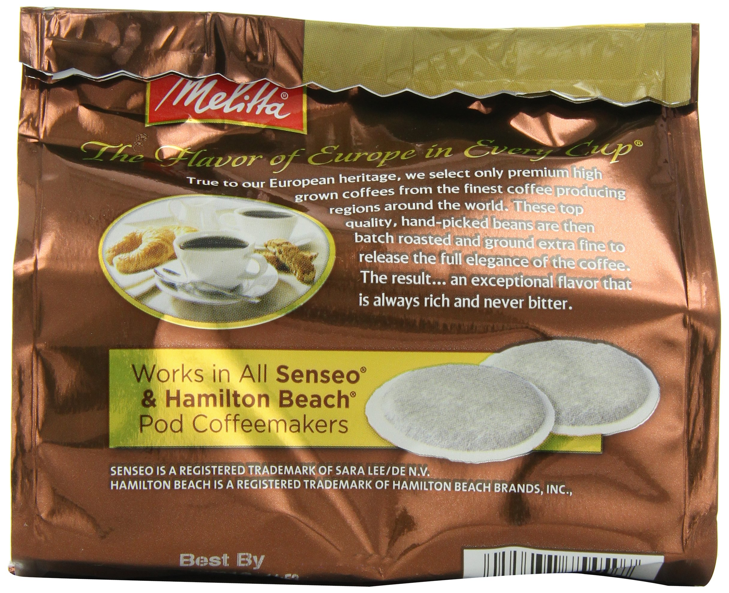 Melitta Coffee Pods for Senseo and Hamilton Beach Pod Brewers, Decaf (Pack of 6) 16 Count Bags, 3.95 Oz Each by Melitta