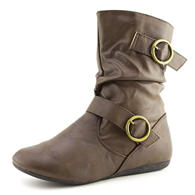 Side Zipper Faux Leather Flat Heel Ankle Booties (Adults)