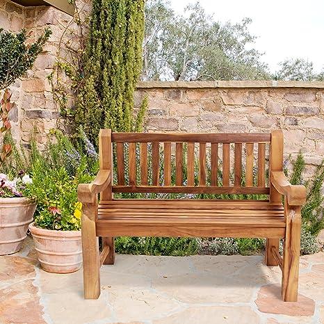 Brilliant Trueshopping Outdoor Teak Garden Bench Seat Weatherproof 2 Seater Classic Solid Hardwood Bench Essential Conservatory Garden Patio Decking Machost Co Dining Chair Design Ideas Machostcouk