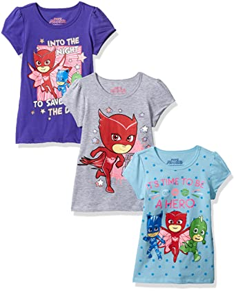 20dc795a618a Amazon.com  PJ Masks 3 Pack Girls Tee  Clothing