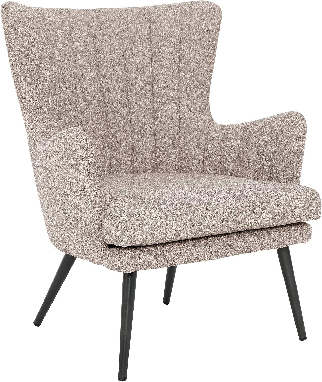 OSP Home Furnishings Jenson Mid-Century Modern Accent Arm Chair, Tan Fabric