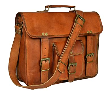 ADIMANI Leather Brown Mens Messenger Bag
