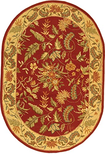 Safavieh Chelsea Collection HK141C Hand-Hooked Red Premium Wool Oval Area Rug 7'6″ x 9'6″ Oval