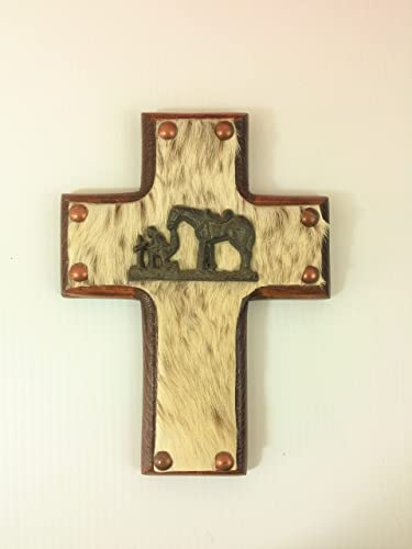 Amazon.com: Cowboy Praying Hair on Cowhide Wood Decorative Wall ...