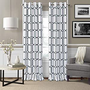 "Elrene Home Fashions Kaiden Geometric Room Darkening Window Curtain Panel, 52"" W x 95"" L (1, Indigo"