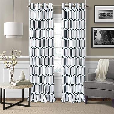 Elrene Home Fashions Kaiden Geometric Room Darkening Window Curtain Panel, 52  W x 84  L (1), Indigo