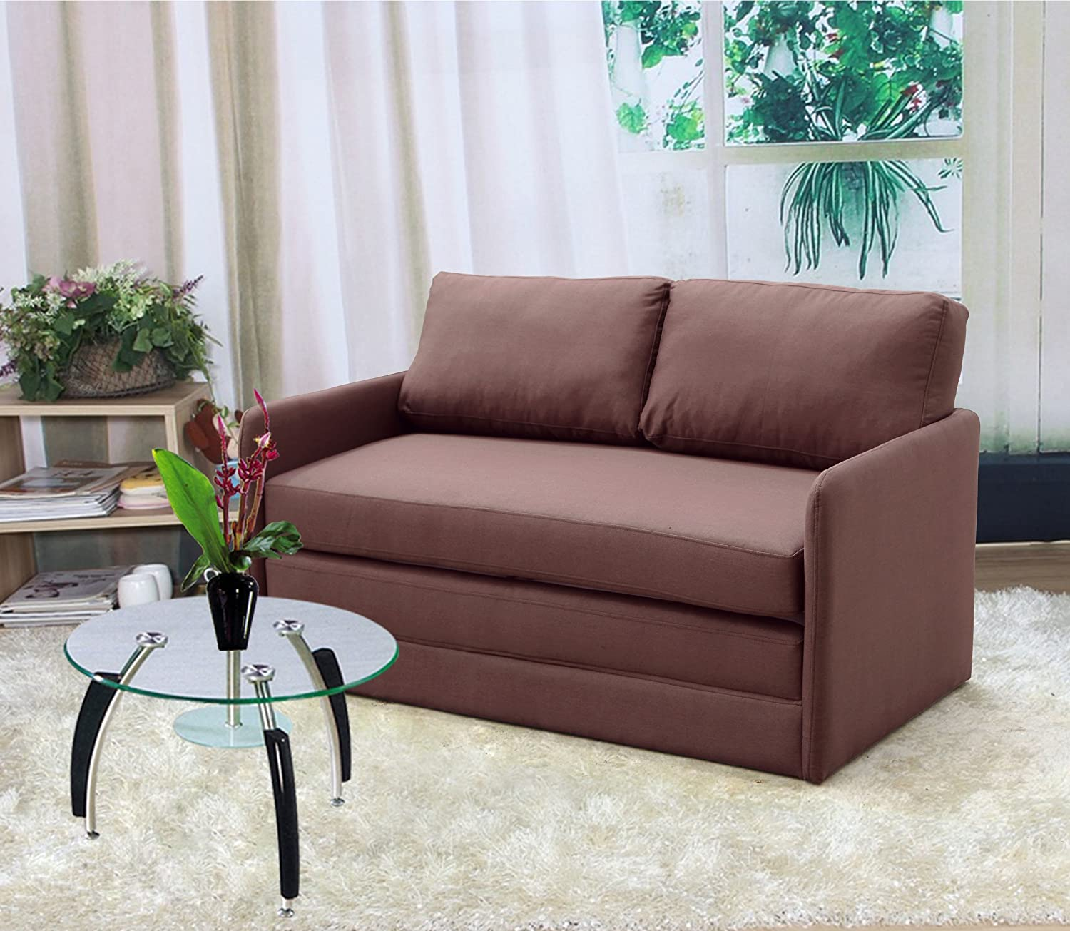 Amazon com us pride furniture kathy reversible 5 1 foam fabric loveseat and sofa bed couch sleeper brown kitchen dining