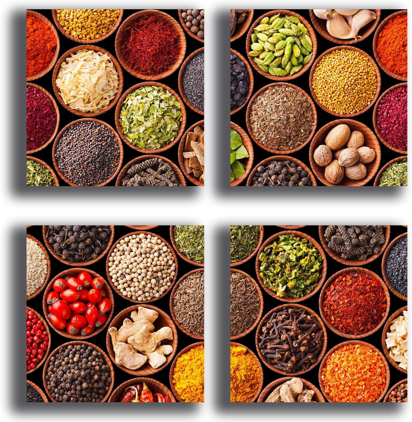 murando Quadro Kitchen 40x40 cm Stampa su Tela in TNT XXL Immagini Moderni Murale Fotografia Grafica Decorazione da Parete 4 Parti peperone Chilli Cucina Cucchiaio j-B-0039-b-i