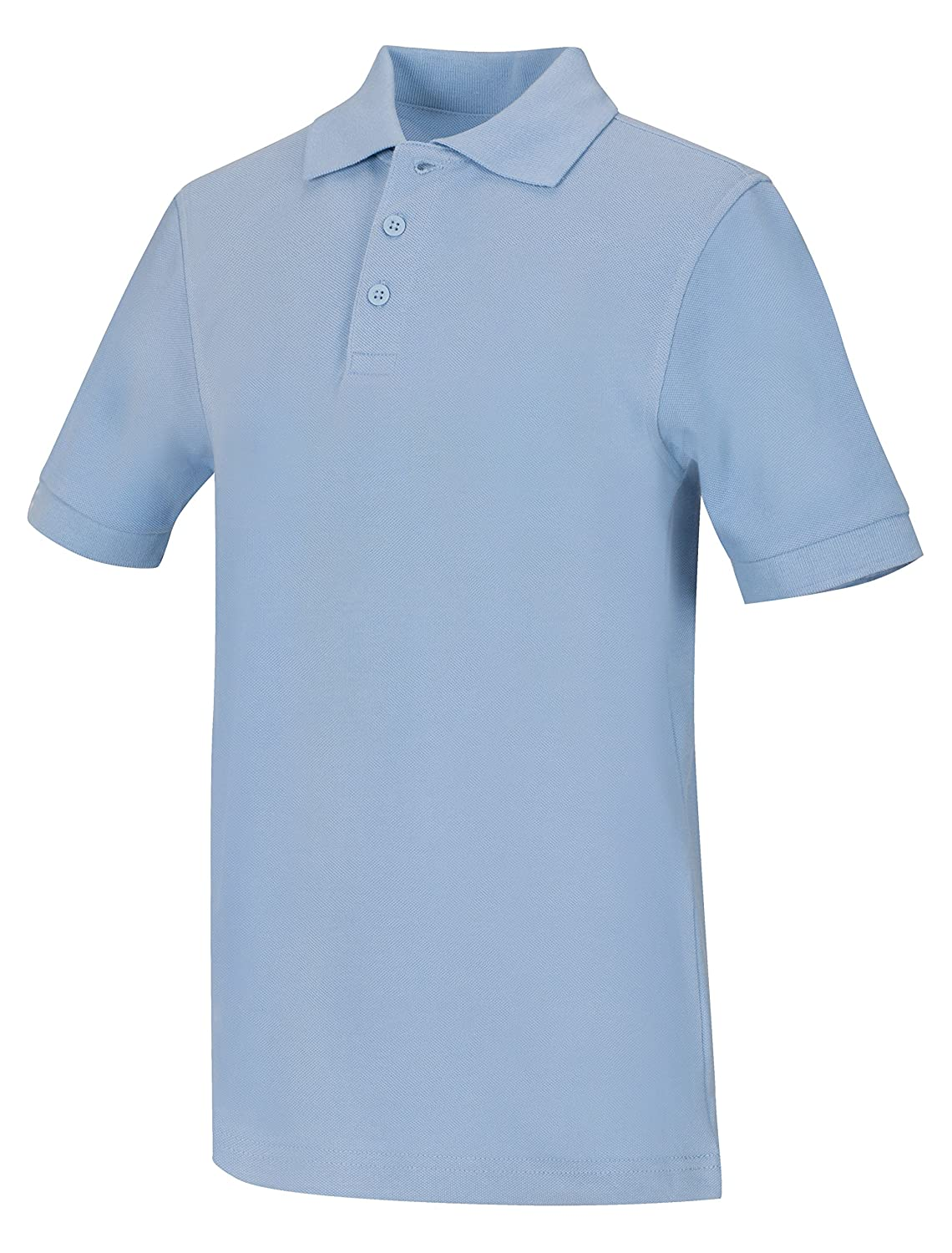 Classroom Big Boys Uniform Pique Short Sleeve Polo,Light Blue,X-Small
