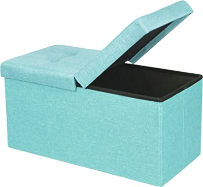 """Otto & Ben 30"""" Storage Ottoman - Folding Toy Box Chest with SMART LIFT Top, Upholstered Tufted Ottomans Bench Foot Rest for Bedroom, Mint Blue"""