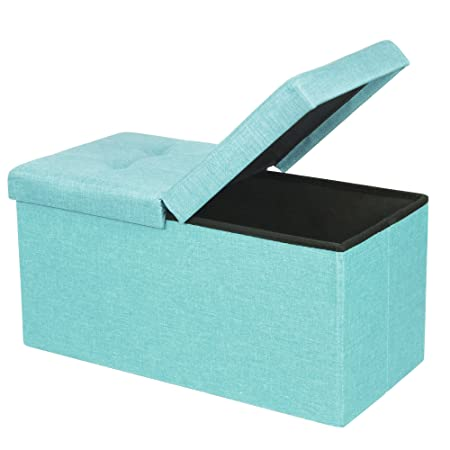 Otto Ben 30 Storage Ottoman – Folding Toy Box Chest with SMART LIFT Top, Upholstered Tufted Ottomans Bench Foot Rest for Bedroom, Mint Blue