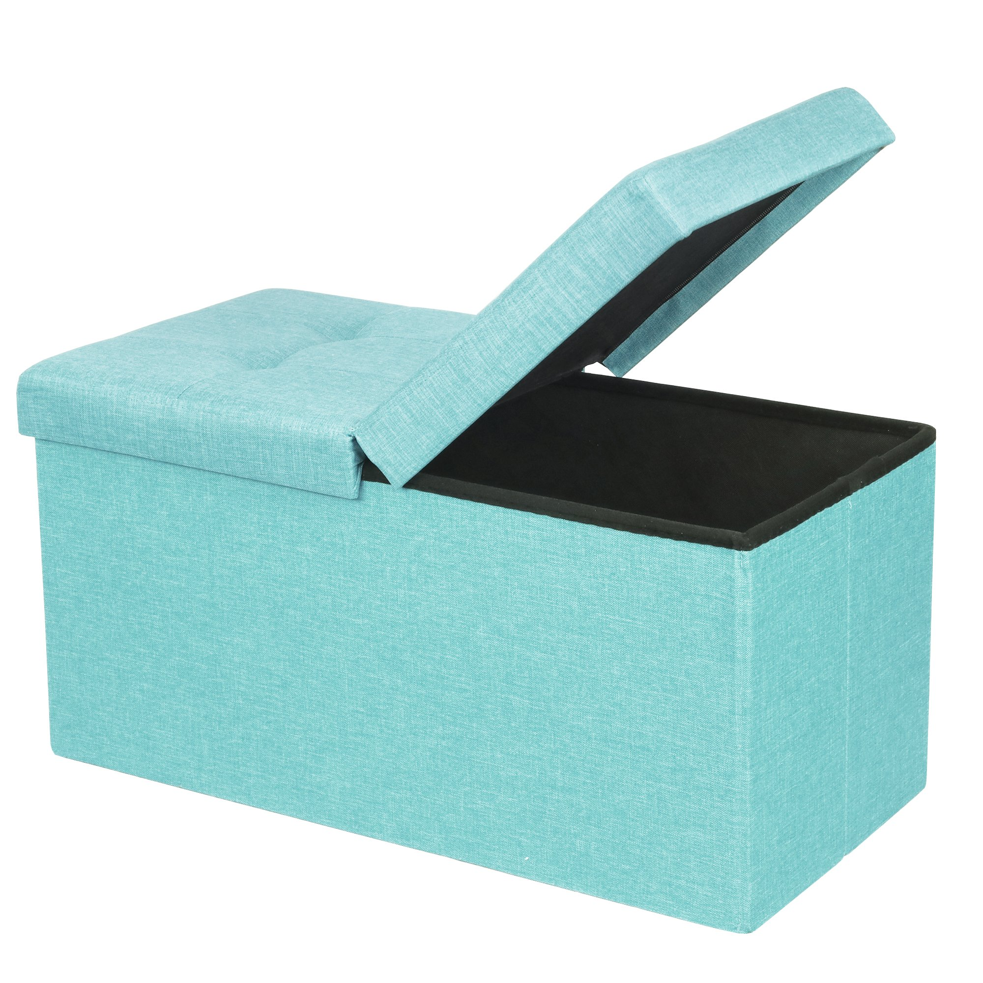 Otto & Ben 30'' Storage Ottoman - Folding Toy Box Chest with Smart Lift Top, Upholstered Tufted Ottomans Bench Foot Rest for Bedroom, Mint Blue